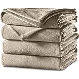 Sunbeam Velvet Plush Heated Blanket, King Size, Mushroom