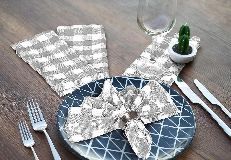 Cote De Amor 20x20 Gingham Check Plaid Cloth Dinner Napkins 12 Pack 100/% Cotton Soft Absorbent Restaurant Hotel Quality Machine Washable Cloth Napkins Black White Wedding Dinner Napkins
