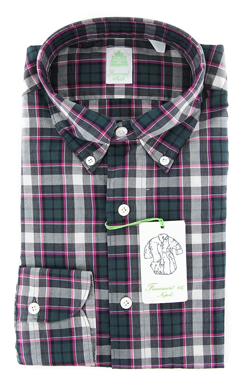 Finamore Napoli Plaid Button Down Button-Down Collar Cotton Extra Slim Fit Dress Shirt