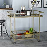 Amaya Indoor Industrial Iron and Glass Bar Cart, Gold