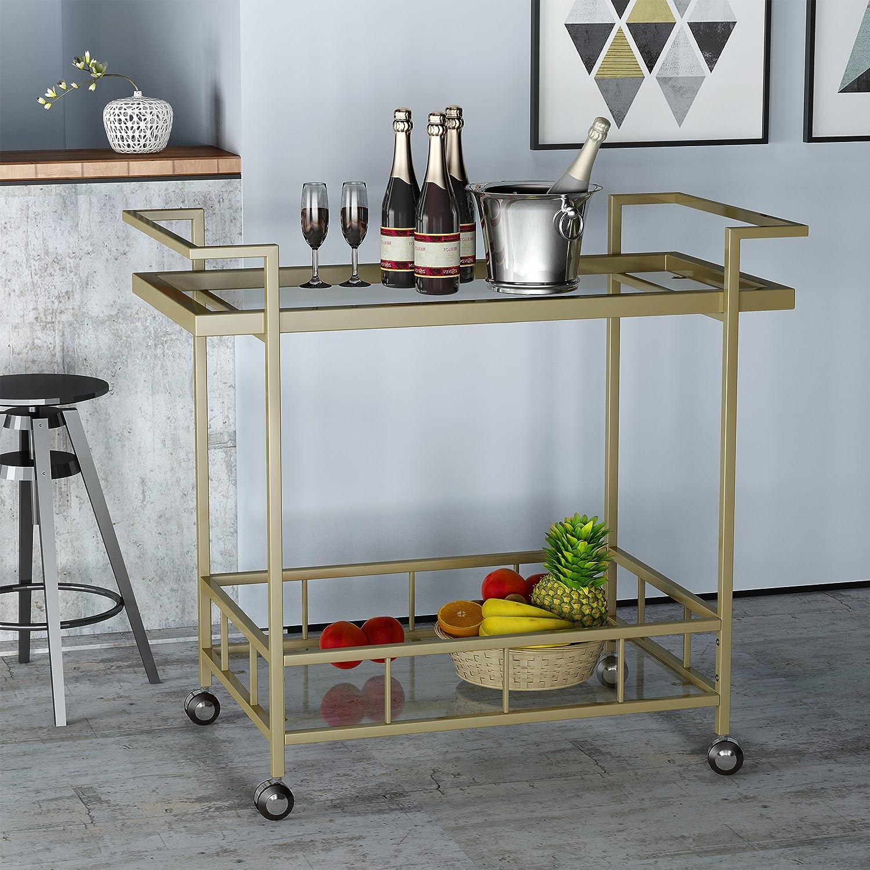 Amazon.com: Amaya Indoor Industrial Iron and Glass Bar Cart, Gold ...
