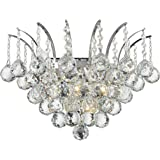 "Worldwide Lighting Empire Collection 3 Light Chrome Finish and Clear Crystal Wall Sconce 16"" W X 13"" H Large"