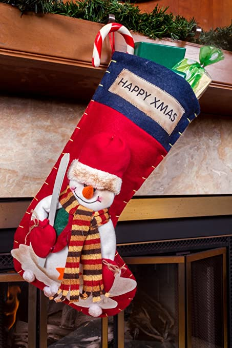 high end fancy family christmas stockings for kids 3d snowman