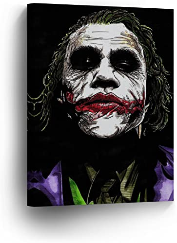The Joker Heath Ledger Drawing Vector Paint Canvas Print Wall Art Decorative Home Decor Poster Artwork Framed and Stretched