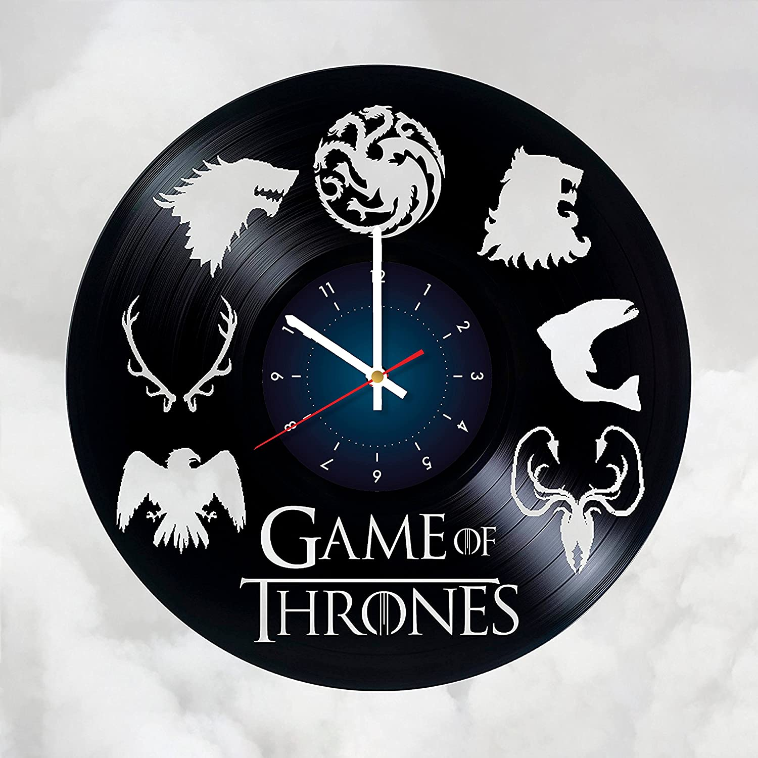 Game of Thrones - Winter is Coming - Art Vinyl Wall Clock Gift Room Modern Home Record Vintage Decoration Girt for Him and Her GOT Gift for Fan Gifts for Boys Gamers Girls Women You Prime Gift