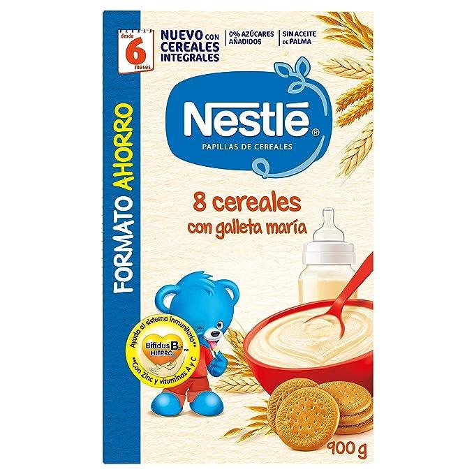Nestlé Papillas - 8 cereales con Galleta María instantánea, a partir de 6 meses, 900 gr