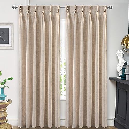 Editors' Choice: DriftAway Pinch Pleat Linen Blend Semi Sheer Solid Farmhouse and Modern Rustic Curtains