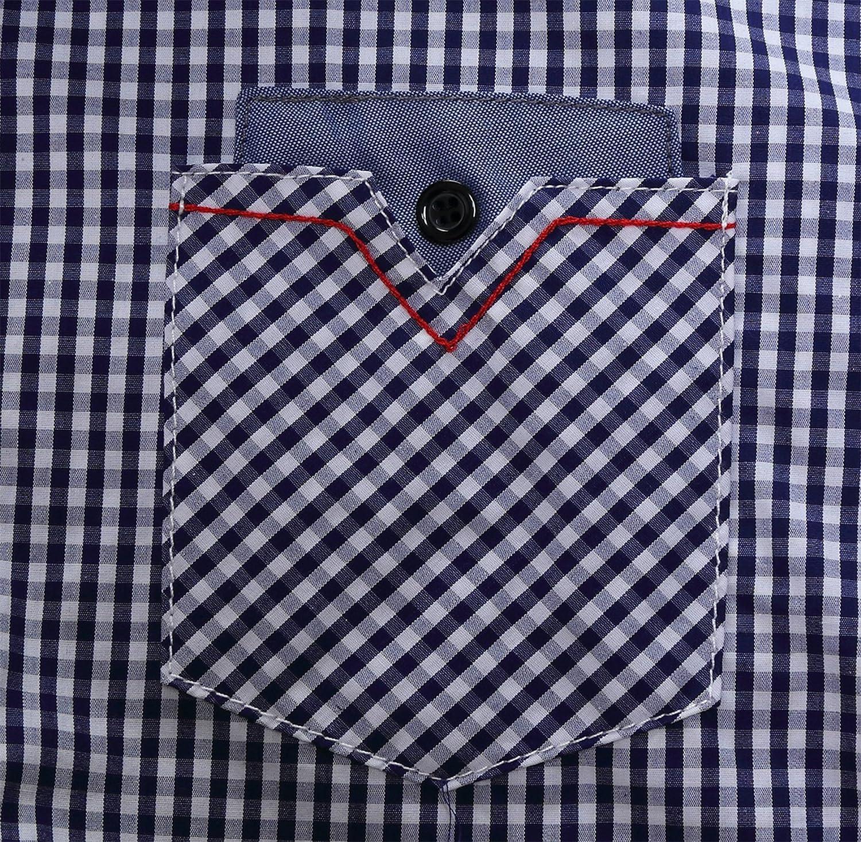 WSLCN Homme Chemise El/égante /à Carreaux Poche Poitrine 100/% Coton Longues Manches /à Revers