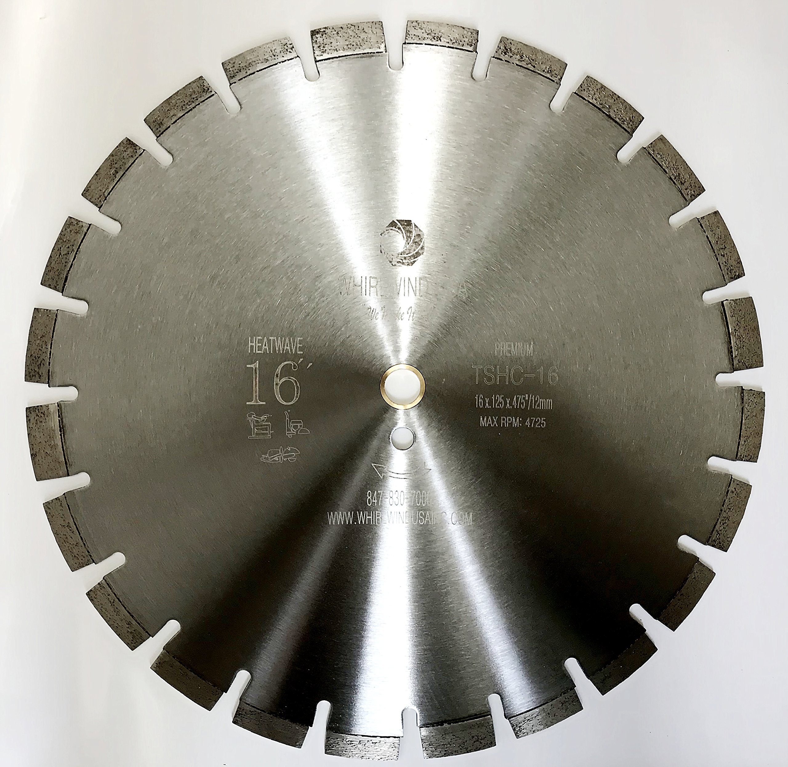 Whirlwind USA 16 inch Heatwave Dry Concrete Cutting Laser Welded Segmented Diamond Saw Blades (16'') by WHIRLWIND USA