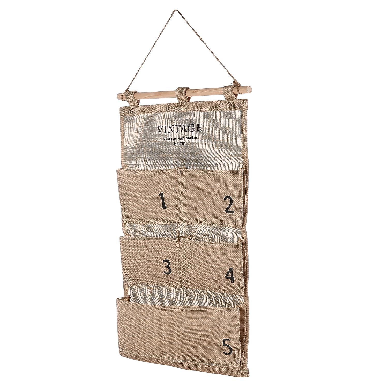 Decorative Canvas Wall Hanging Organizer/5 Pocket Craft Supplies Nursery Storage Bag, Beige MyGift