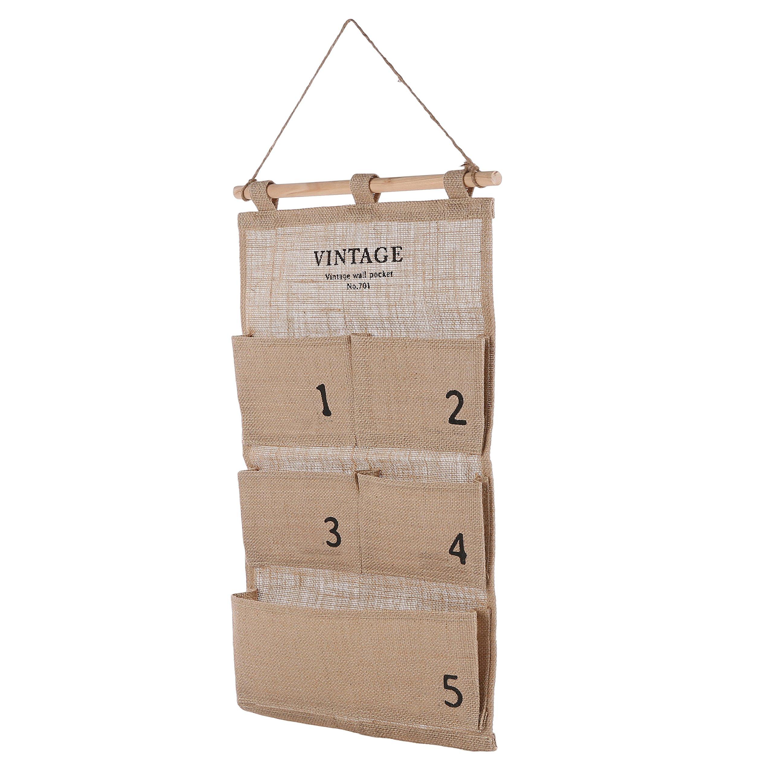 Decorative Canvas Wall Hanging Organizer / 5 Pocket Craft Supplies Nursery Storage Bag, Beige