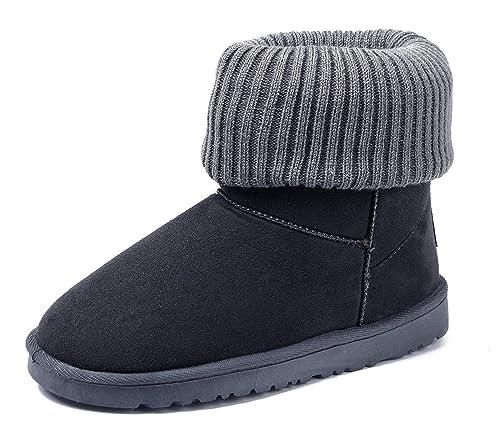 AgeeMi Shoes Mujer Bota Nieve Tejido de Punto Invierno Zapatos Clásicas Botines,EuX05 Gris Oscuro 41: Amazon.es: Zapatos y complementos