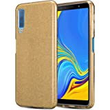 Kit Me Out World Glitter Series Case Designed for Galaxy A7 (2018) Case, TPU & Inner Hard PC, Slim Fit Durable Shockproof Protection Case Cover (Gold)