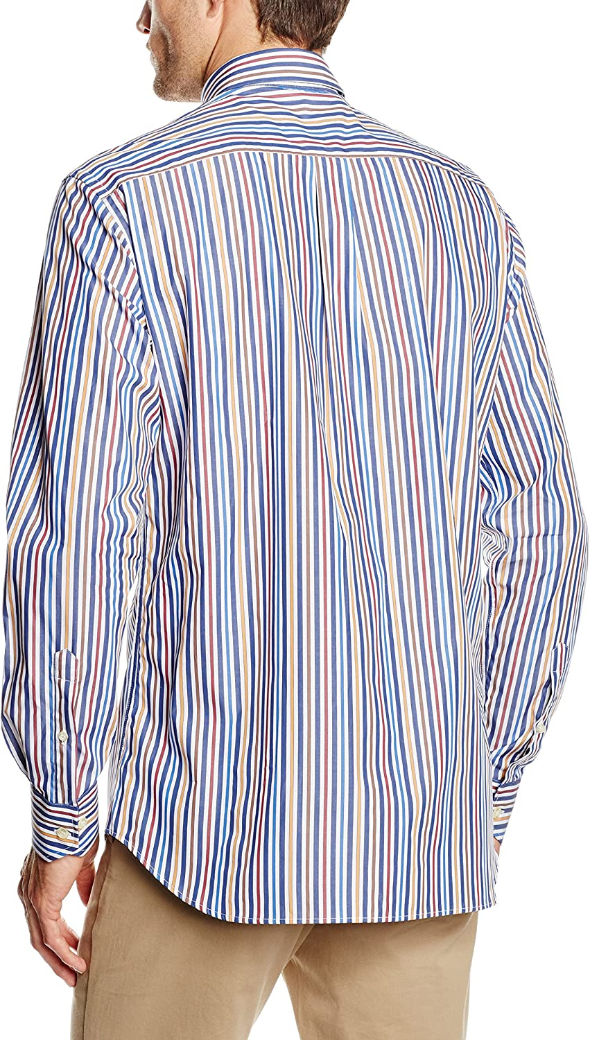 Mirto HAPPY BOTON - Camisa Casual de manga larga para hombre, multicolor, talla 37: Amazon.es: Ropa y accesorios