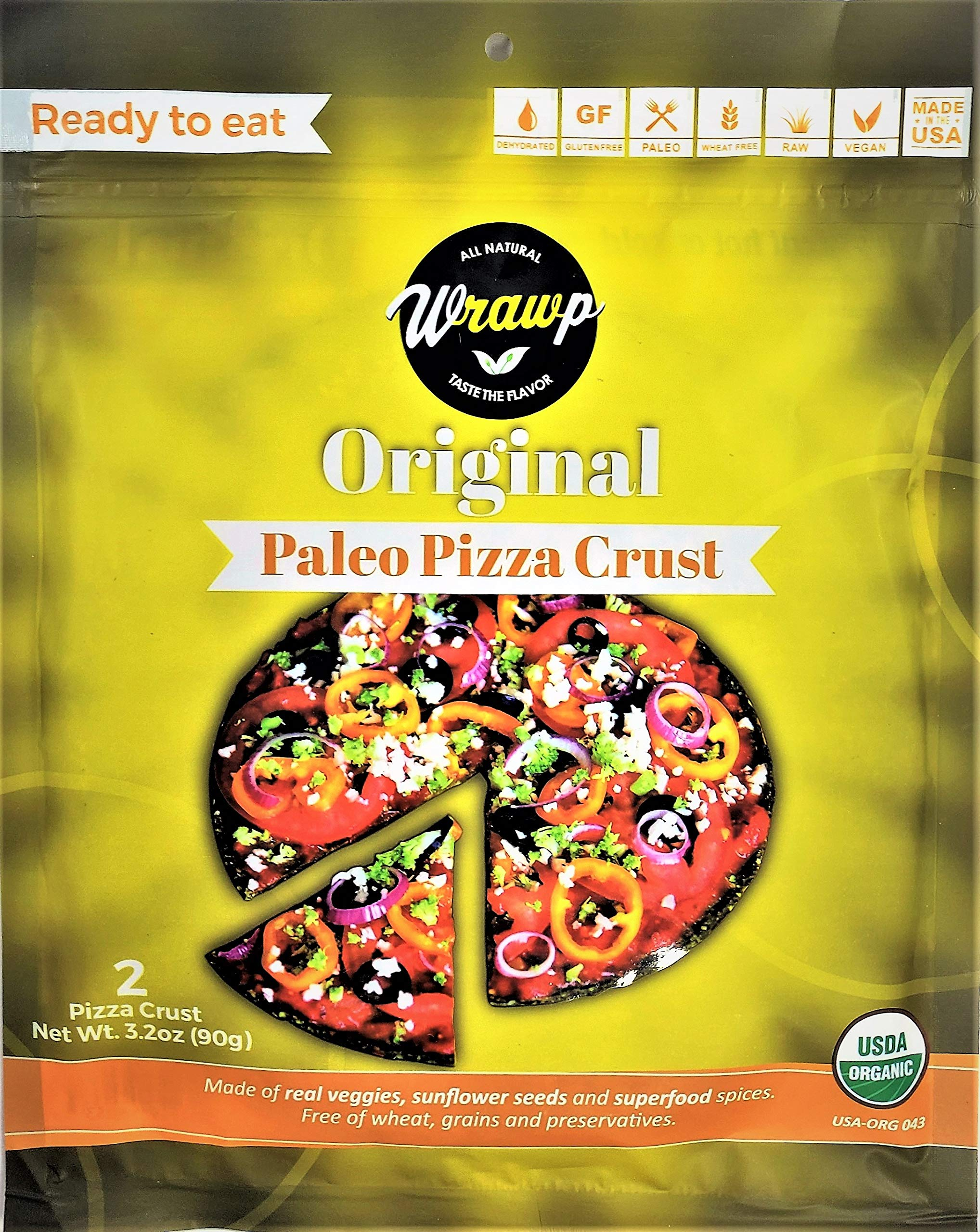 Paleo Pizza Crust | Original Flavored Organic Gluten Free, Dairy Free, Soy Free, Nut Free and Vegan Pizza Crust 6 Pack