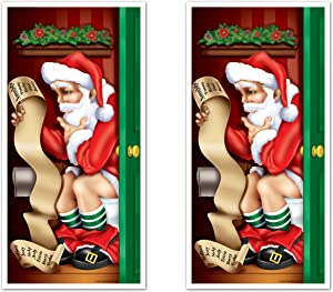 """Beistle Santa Claus Restroom Door Covers 2 Piece Christmas Decorations Winter Party Supplies, 30"""" x 5', Multicolored"""