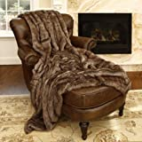 "Best Home Fashion Faux Fur Throw - Full Blanket - Coyote - 58""W x 84""L - (1 Throw)"