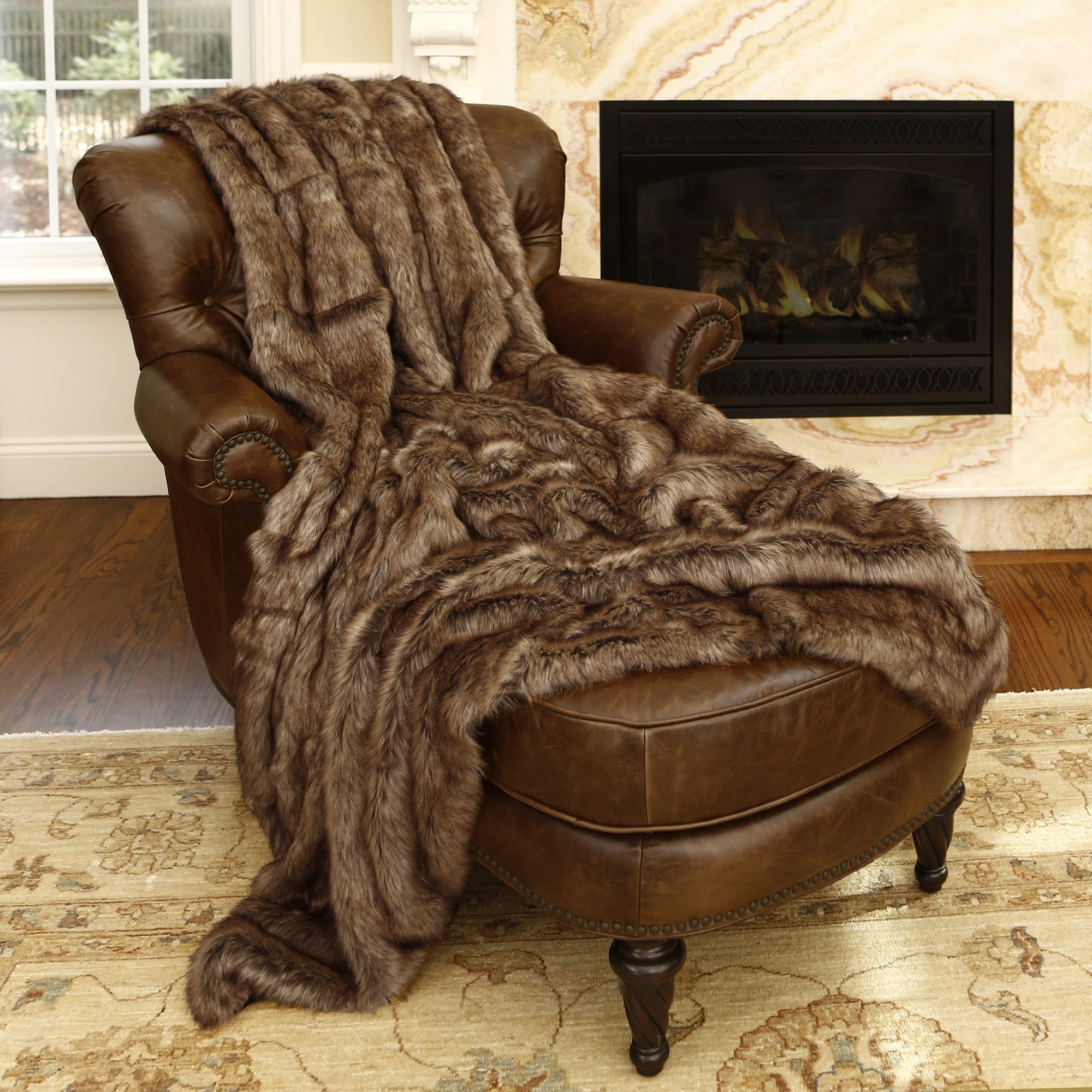 Best Home Fashion Faux Fur Throw - Full Blanket - Coyote - 58''W x 84''L - (1 Throw)