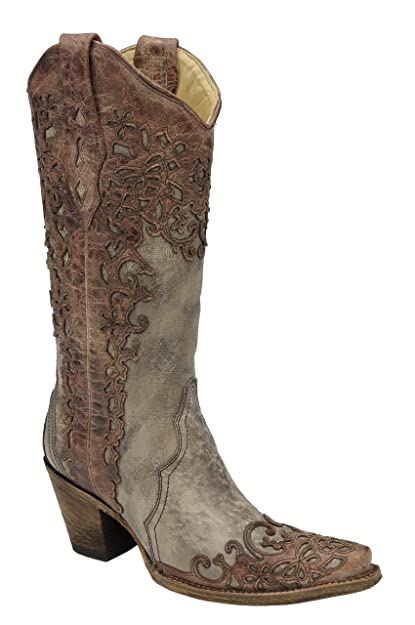 410fc47e58e Corral Women's Sand and Cognac Laser Overlay Cowgirl Western Boot