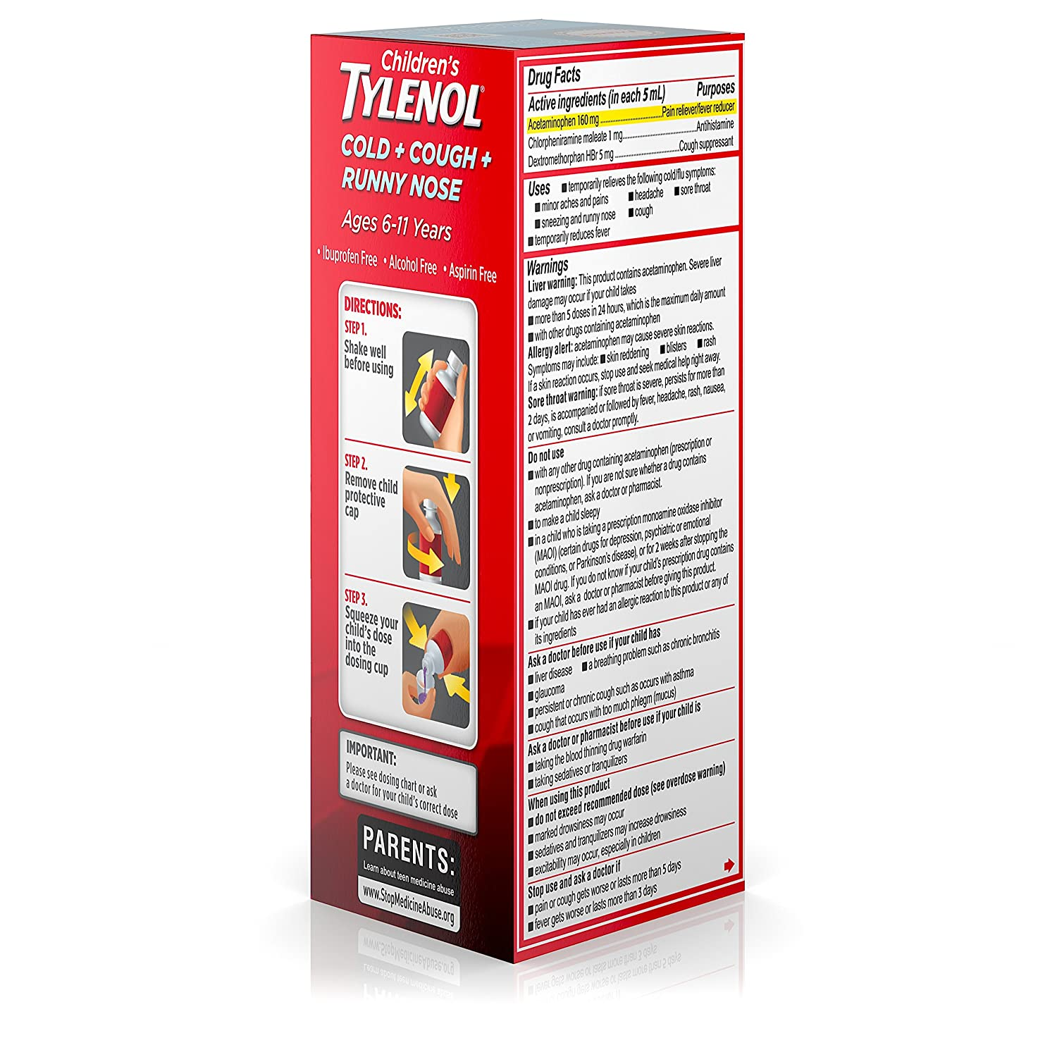 Amazon Childrens Tylenol Cold Cough And Runny Nose Medicine