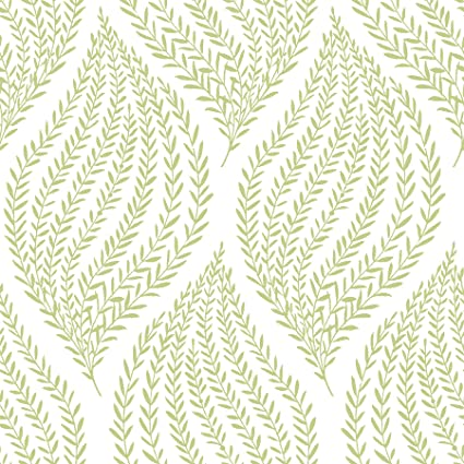 Nuwallpaper Nu1688 Fern Lime Green Peel Stick Wallpaper Amazon In Home Improvement
