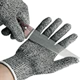 Cut Resistant Gloves - High Performance Level 5 Protection,Knife Cut Proof Gloves (1 Pair)(Gray, Small)