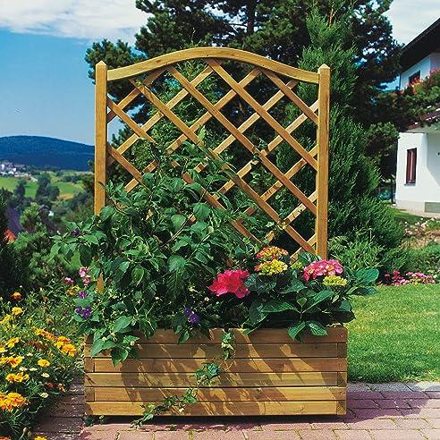 Pflanzkübel aus Holz mit Rankgitter Maße 90 x 40 x 135 cm: Amazon ...