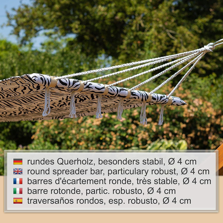 travesa/ños rondos para una Persona Hamaca 190x105 cm Motivo Cebra Capacidad hasta 120kg Ampel 24
