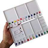 """Large Watercolor Folding Plastic Palette - 33 Mixing Wells - Box Cover Lid Opens Flat For Art Studio + Thumbhole For Plein Air Painting - Rigger Art Acrylic Palettes 10.2"""" x 5.1"""" Pallet"""