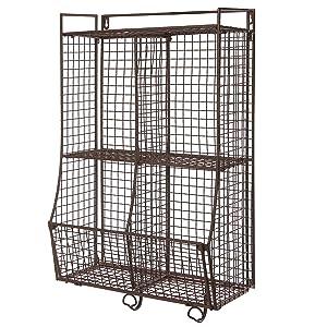 Wall Mounted/Collapsible Brown Metal Wire Mesh Storage Basket Shelf Organizer Rack w/ 2 Hanging Hooks