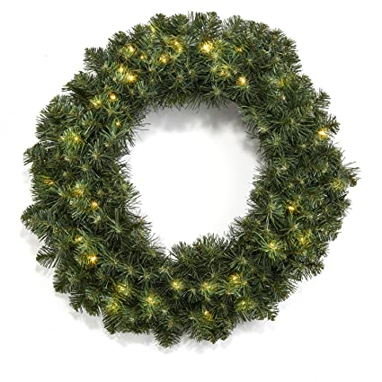 24 pre lit christmas pine wreath with 50 warm white leds battery operated - Pre Lit Christmas Wreaths Battery Operated