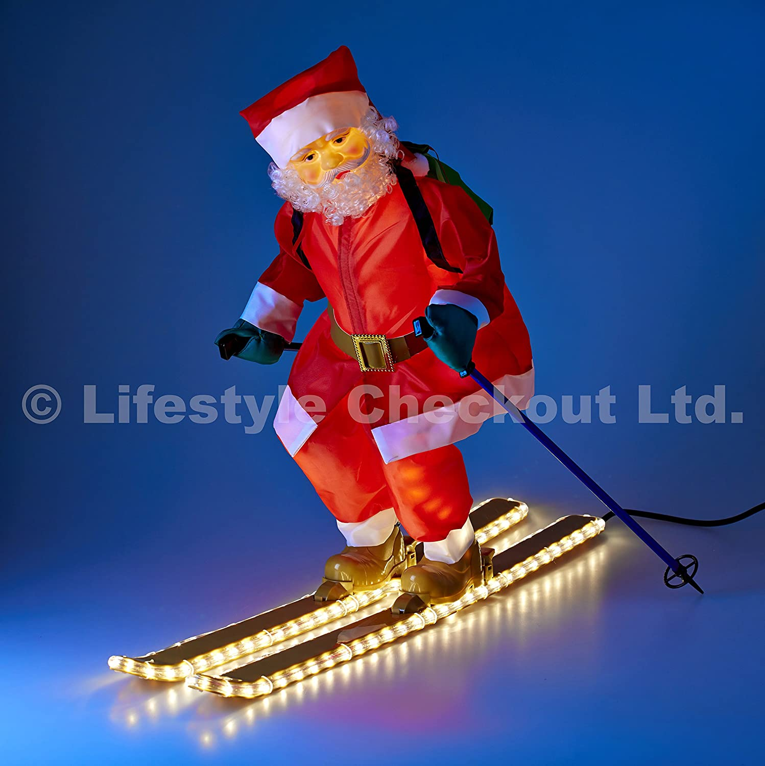 75cm Santa on Skis with LIGHT UP Rope and Body for Outdoor Christmas Home & Garden Decoration Lifestyle Checkout Ltd.