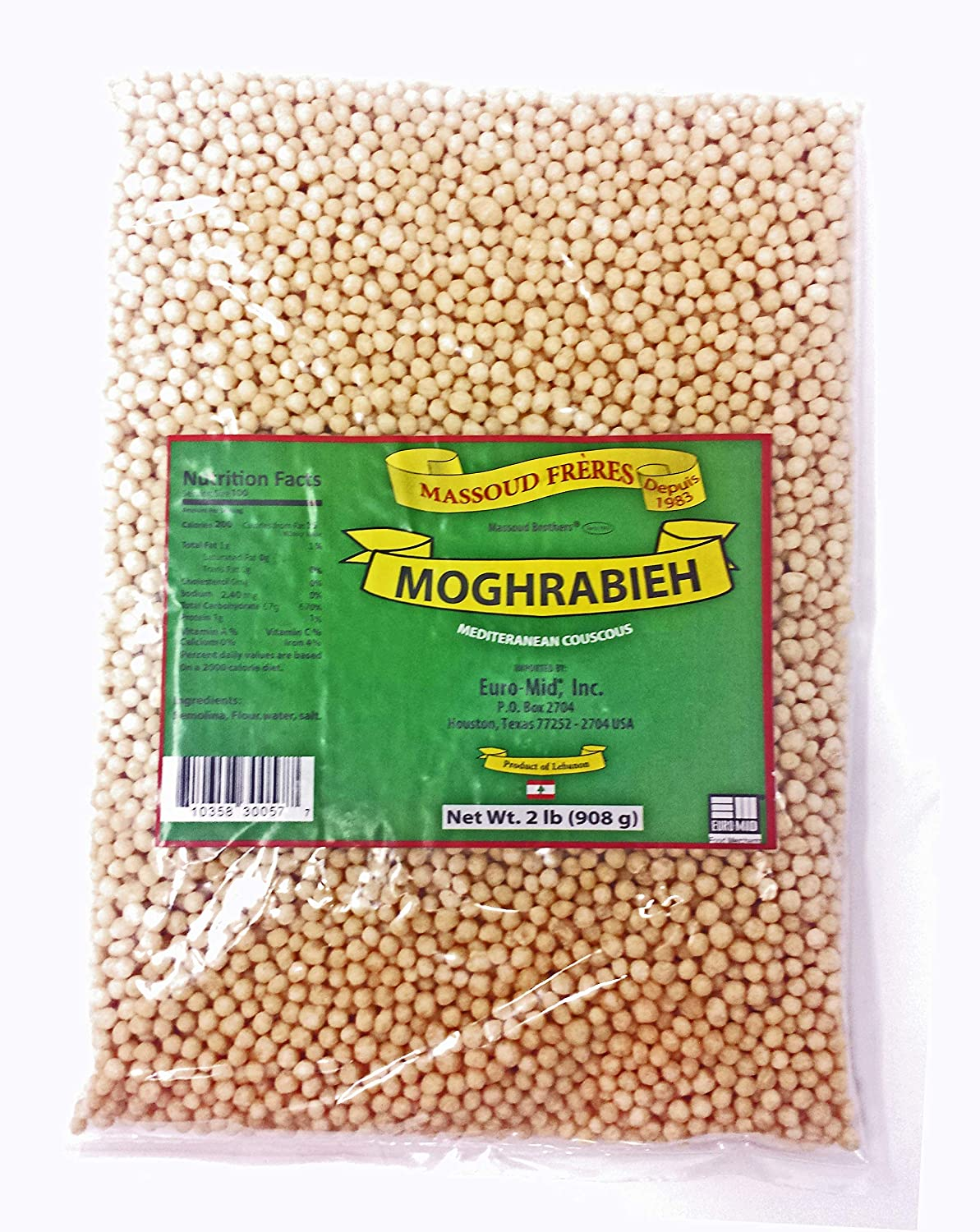 Amazon Com Moghrabieh Lebanese Couscous Mediterranean Pearl Couscous By Massoud Freres Large 2 Pound Bag Grocery Gourmet Food