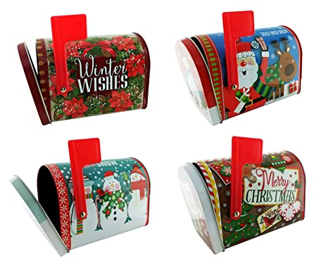 christmas storage tins for gifts candy or cookies containers set of 4