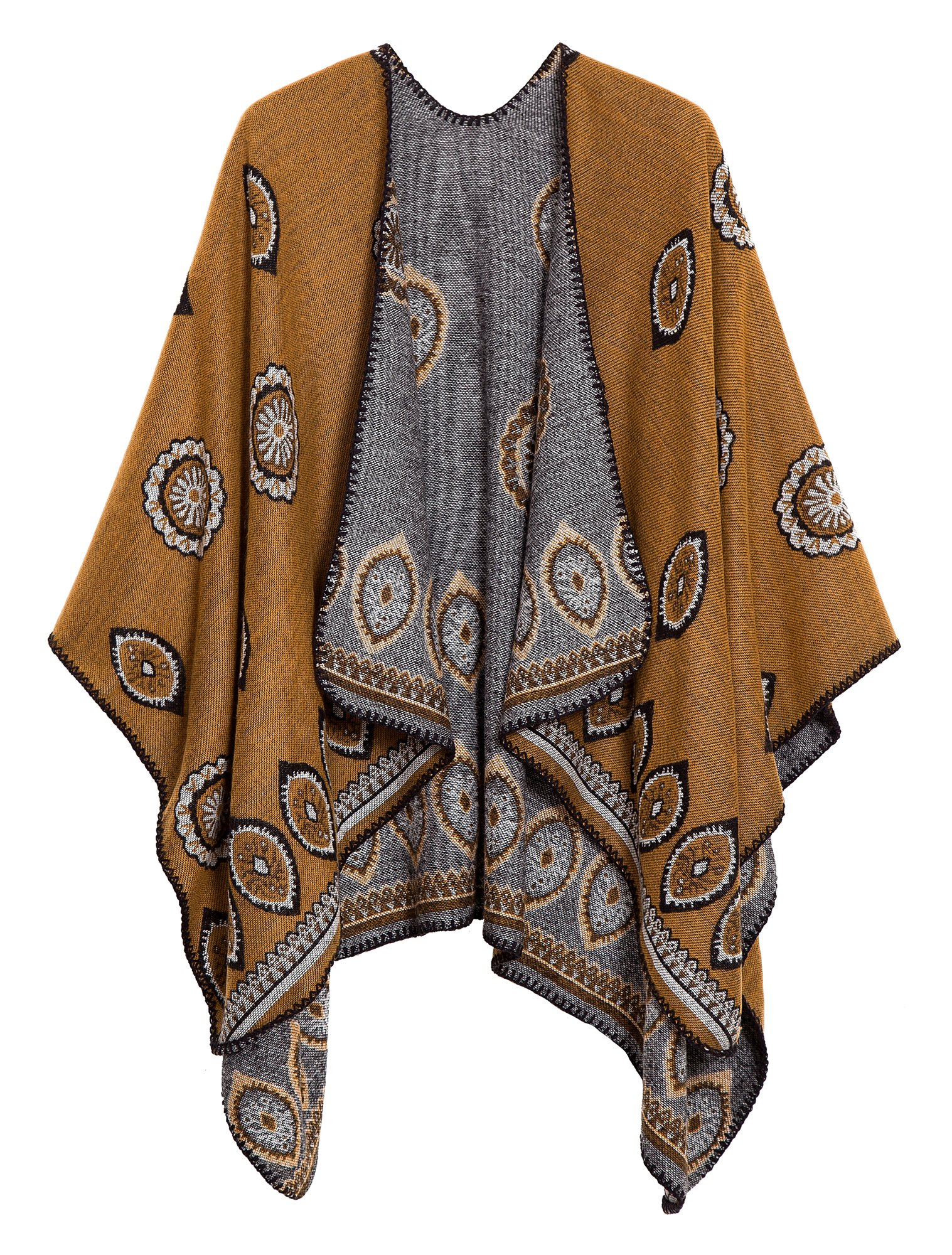 Women's Vintage Pattern Open Front Poncho Cape Shawl (Series 3-Yellow)