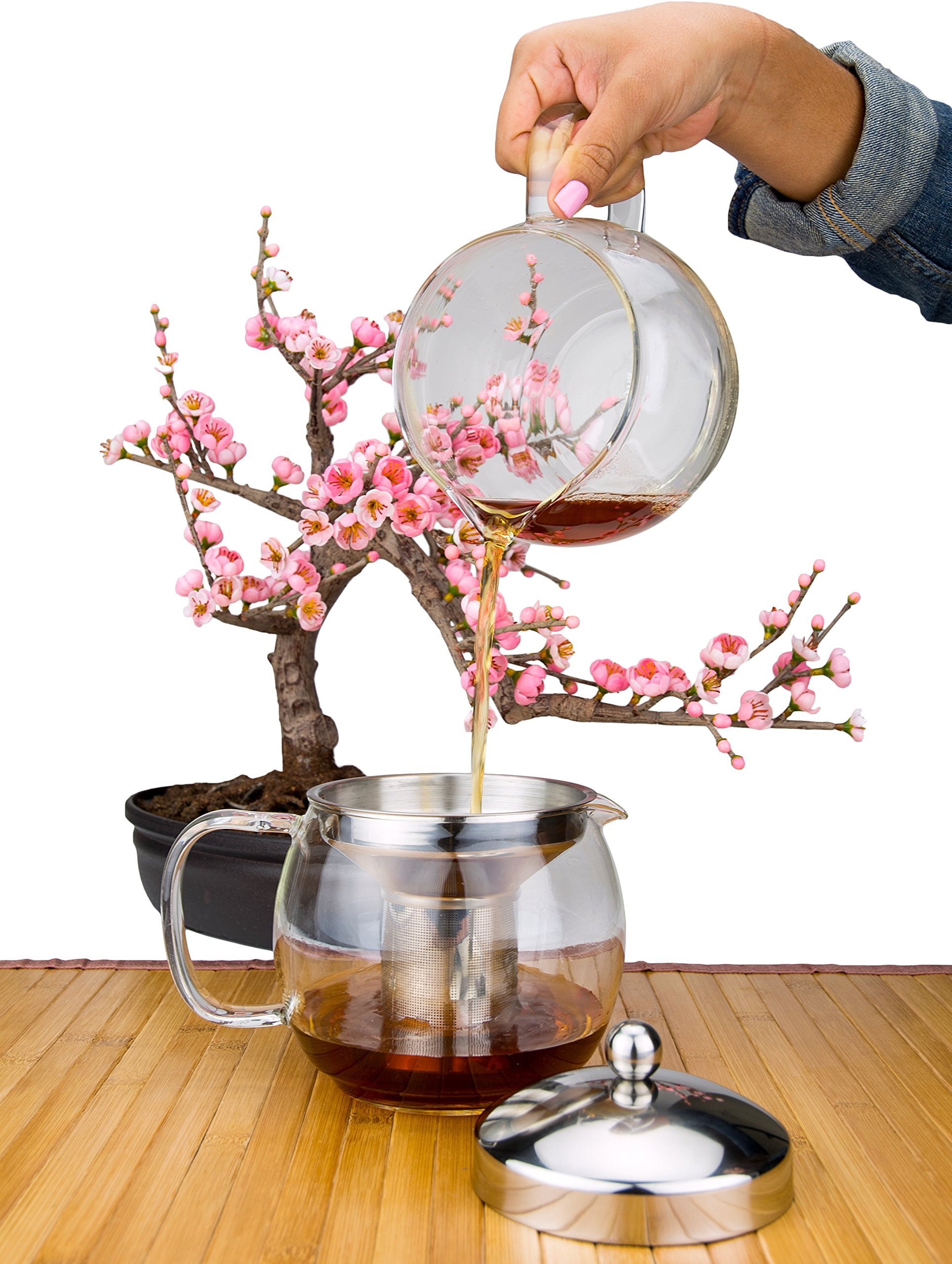 Glass Teapot with Infuser for Blooming and Loose Leaf Tea Pot by Cozyna | Holds 5-6 Cups | Includes Recipe Book by Cozyna (Image #4)