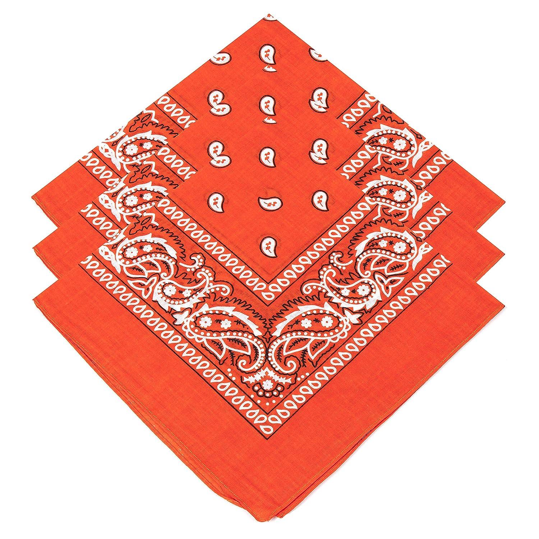 3 Unisex Orange Paisley Bandanas