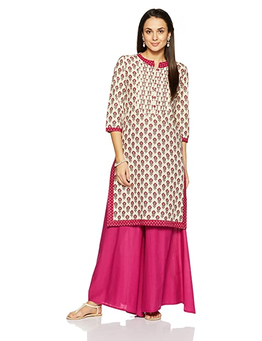 Amazon Brand - Myx Women's Cotton Straight Kurta Kurtas at amazon