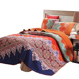 Exclusivo Mezcla 100% Cotton 3-Piece Rich Printed Boho Quilt Set, Reversible& Decorative - Full/Queen