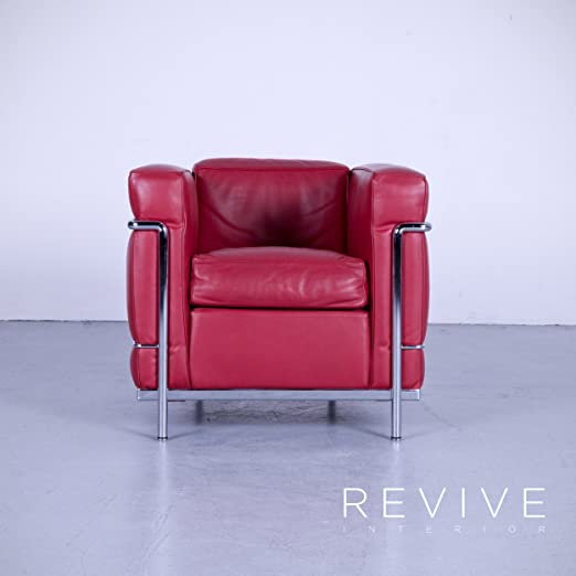 Cassina Le Corbusier LC 2 - Sillón de piel rojo monoplaza silla piel # 4966 ligero marcas de uso: Amazon.es: Hogar