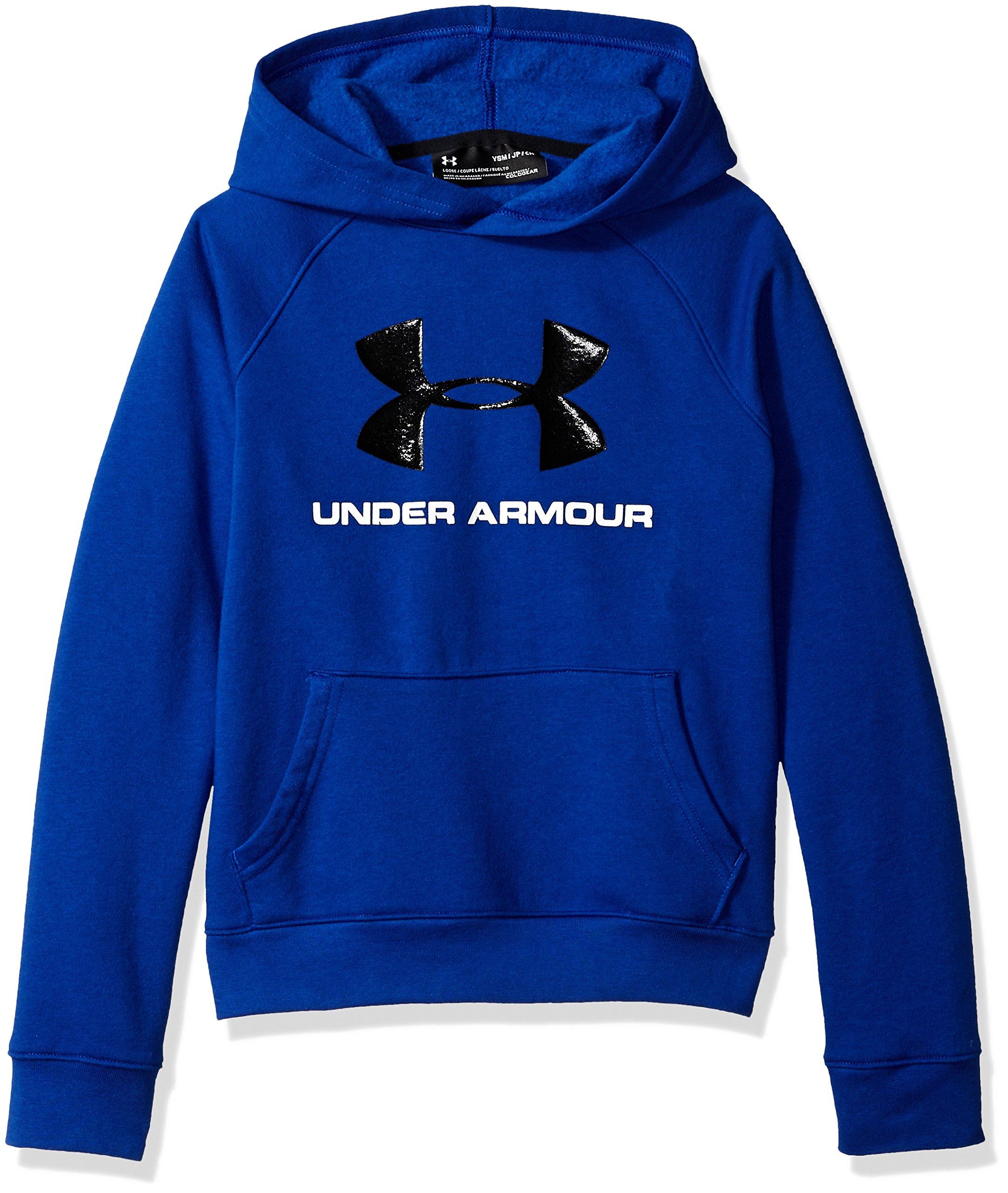 610ed2f7e Galleon - Under Armour Boys Rival Logo Hoodie, Royal (400)/Black, Youth  Medium