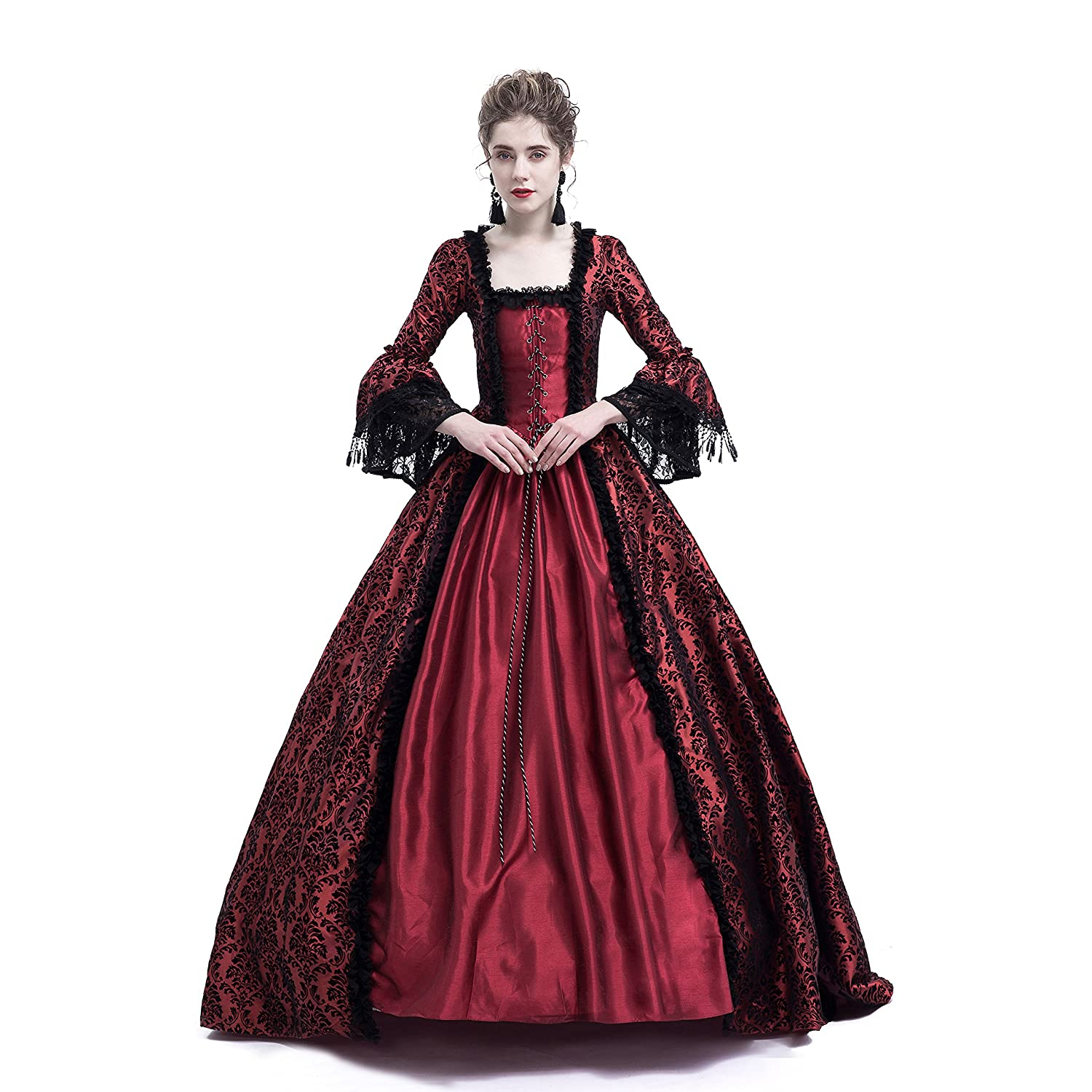 a796ac818062 Amazon.com: D-RoseBlooming Red Masked Masquerade Ball Gown Gothic Victorian  Costume Dress: Clothing