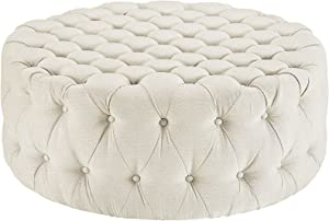 Modway Amour Fabric Upholstered Button-Tufted Round Ottoman in Beige
