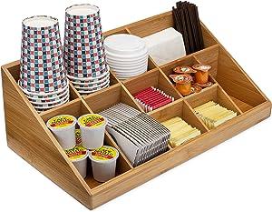 Premium Bamboo Coffee Condiment Organizer 11 Compartment