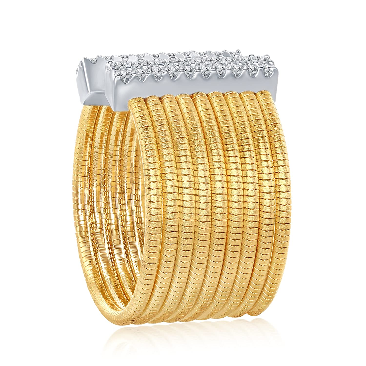 Sterling Silver Itlian Designer Matte Gold Tone with Simulated Diamonds CZ Bars Open Wide Ring