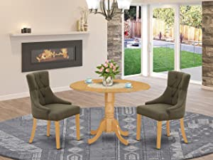 East West Furniture Dining Set 3 Pieces - Dark Gotham Grey Linen Fabric Button-tufted Parsons Dining Chairs - Oak Finish Solid wood drop leaves Pedestal Small Dining Table and Frame