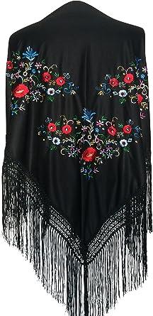 La Señorita Mantones bordados Flamenco Manton de Manila negro con flores de colores diferentes triángulo