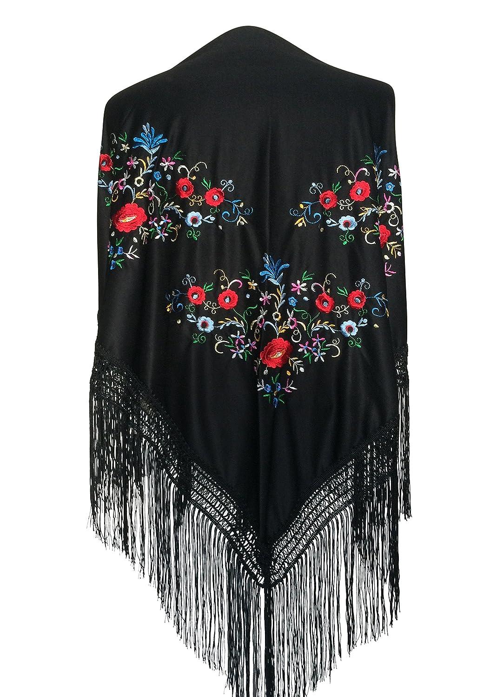 La Se/ñorita Mantones bordados Flamenco Manton de Manila negro con flores de colores diferentes tri/ángulo