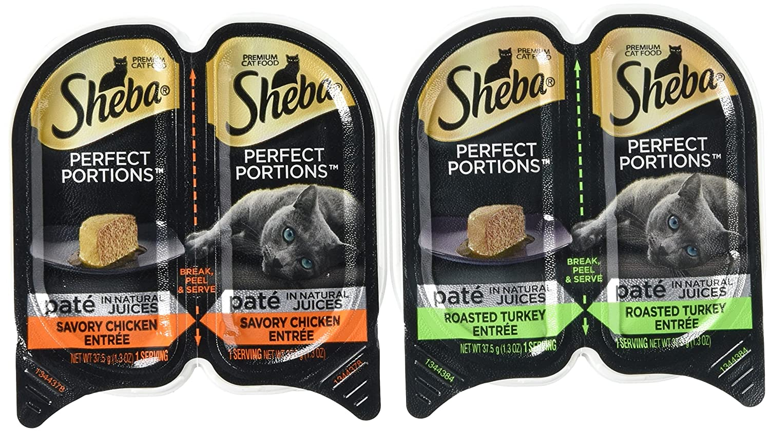 Sheba Perfect Portions Wet Cat Food, Savory Chicken Entrée and Roasted Turkey Entrée, (12) 2.6 Oz Twin-Pack Trays