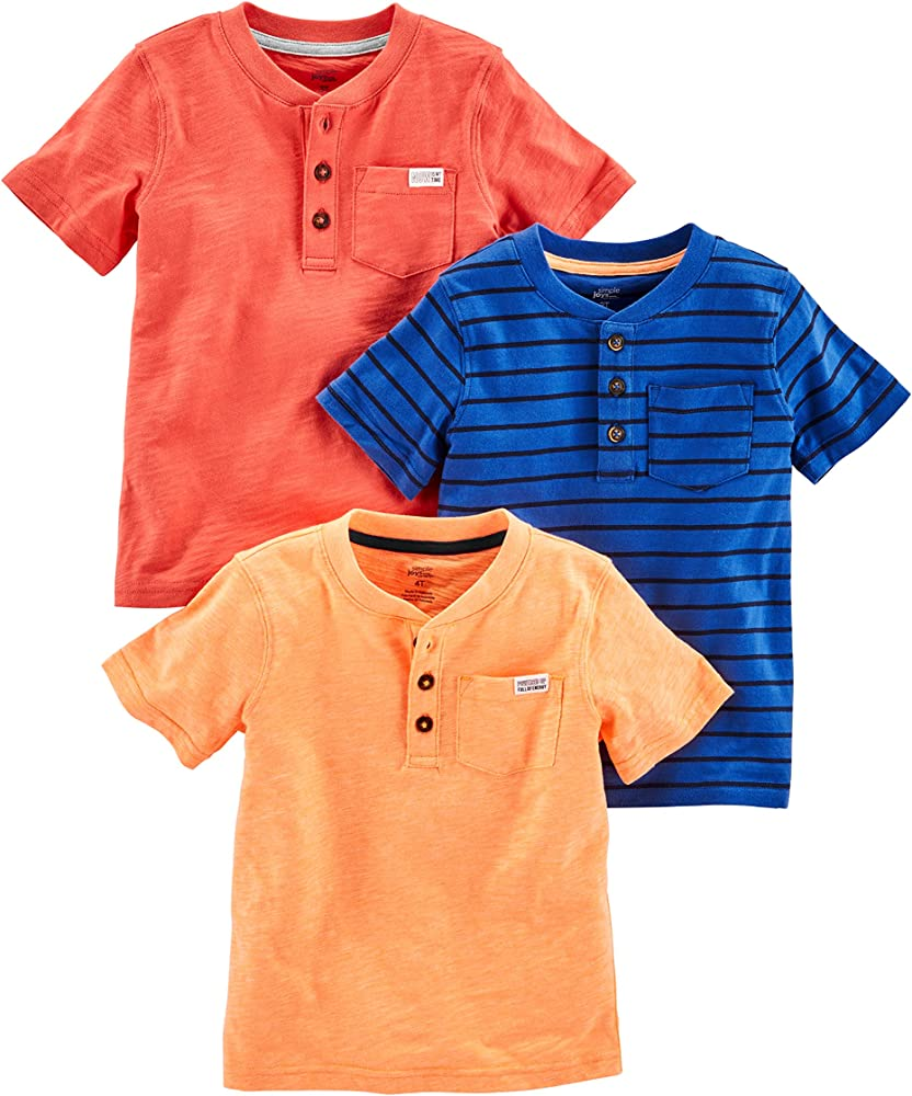 80bceb56 Simple Joys by Carter's Baby Boys' Toddler 3-Pack Short Sleeve Henley,  Orange